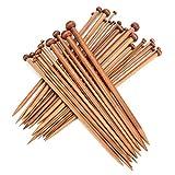 Juego de agujas de tejer de bambú, 36 piezas de agujas de tejer carbonizadas de un solo punto, tamaños de 2.0 mm a 10.0 mm, herramientas de tejer de 25 cm de longitud para manualidades de lana hechas