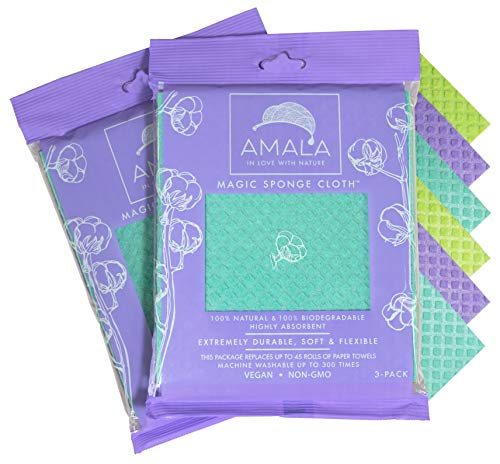 Magic Sponge Cloth by Amala, (6-Pack), 100% Natural, Dish Cloth, Highly Absorbant, 100% Vegan,...