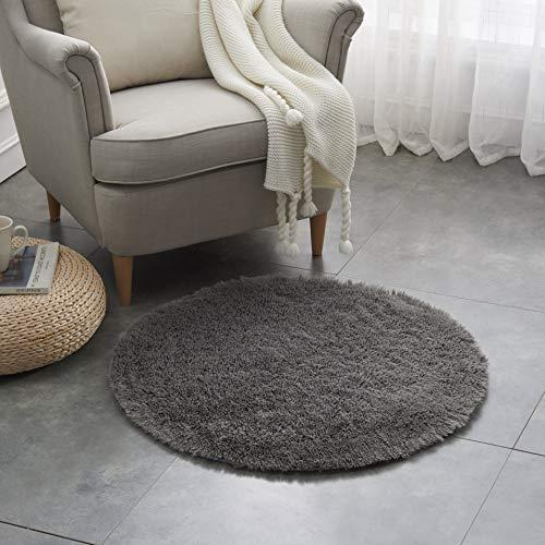 Teppich Wölkchen Hochflor-Plüsch-Teppich I Wohnzimmer Kinderzimmer Schlafzimmer Flur Läufer I rutschfeste Unterseite I 80 rund - Dunkelgrau