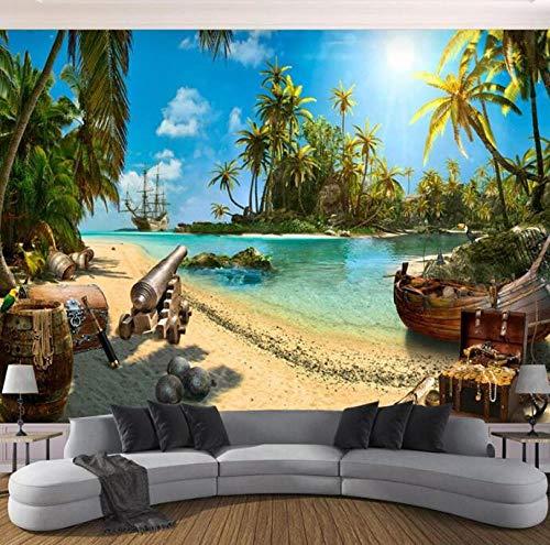 3D vliesbehang, fotovlies, premium fotobehang, behang, geel eiland, landschap, 3D-achtergrond, wand 400*280 400 x 280 cm.