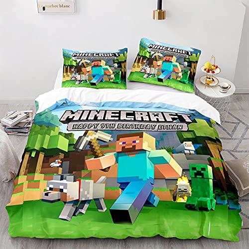 Minecraft Funda de almohada con diseño de impresión en 3D,la ropa de cama de dibujos animados favorita para niños y niñas,adecuada para una cama individual doble tamaño king-1_140x210cm (2 piezas)