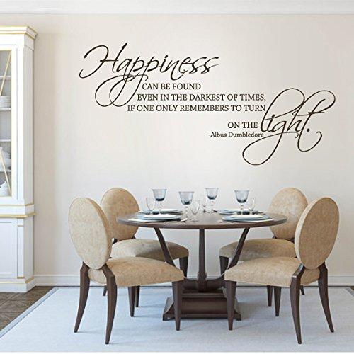 """Movie quotes Wandsticker Wandtattoo Harry Potter, für Wohnzimmer, Zitat """"Happiness können finden Sie auch In der dunkelsten Times..., Vinyl, schwarz, 27""""hx57""""w"""