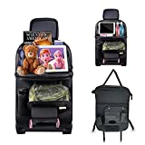 RITZER PU Leather Car Backseat Organizer, Car Kick Mats Protector for Kids, Foldable Dining Table Tray, Tablet Holder, Storage Pockets for Toys, Tissue, Umbrella, Travel Accessories & Large Trash Compartment (Black, 1 Pack)