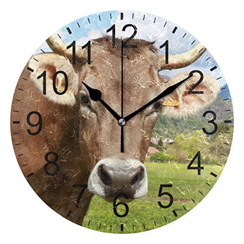 Sennsee Bovino Wanduhr, Kuh, Bossy, dekorative Wanduhr, für Wohnzimmer, Schlafzimmer, Küche, batteriebetrieben, rund