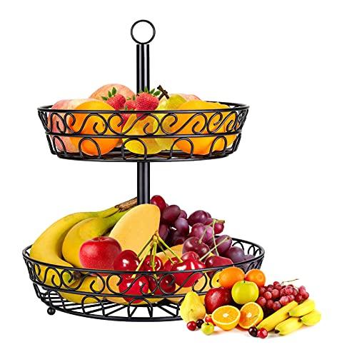 JOLIGAEA Frutero de 2 niveles, Cesta de frutas metálica para mostrador y cocina, Fruteros de estilo vintage para verduras y frutas frescas