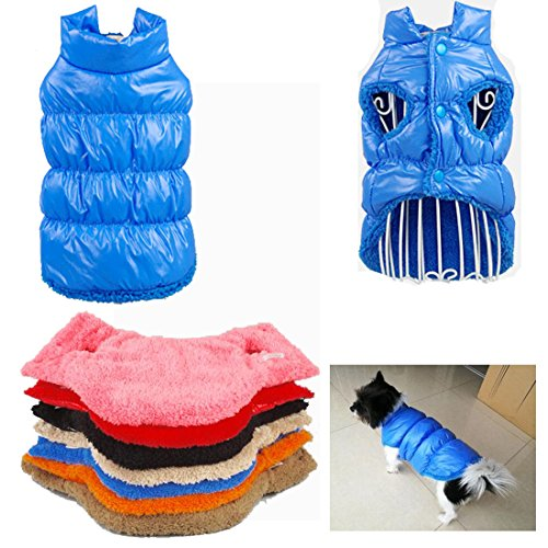Tineer Kleintiere Winter-Padded Vest Mantelhoodies-Hund-Katze-Welpen Haustier Cold Weather Mäntel Jacke (XS, Blau)
