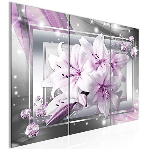 Tabla Lily decoración floral de la pared - 90 x 60 cm Vista de impresión en lienzo Salón Apartamento - listo para colgar - 021732b