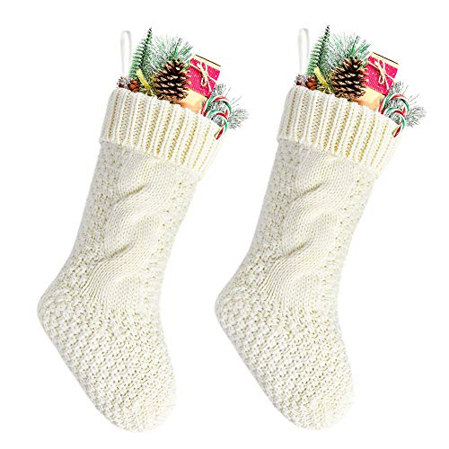 Kunyida Pack 2,14' Unique Ivory White Knit Christmas Stockings
