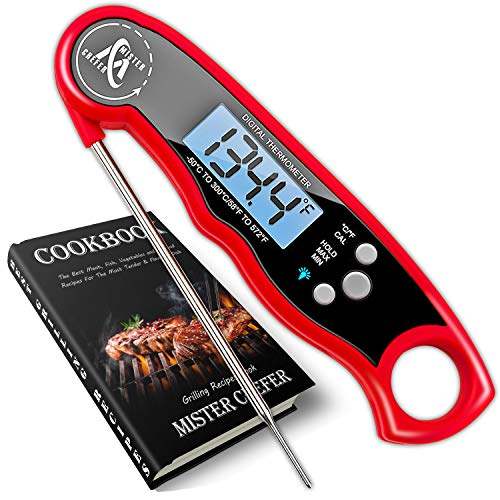 Instant Read Thermometer Best Digital Meat Thermometer Waterproof with Calibration and Backlight Functions
