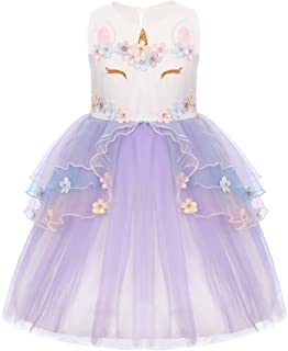 Baby Girls Flower Unicorn Fairy Costume Princess Dress up Birthday Pageant Party Wedding Bridesmaid Dance Outfits Short Gown