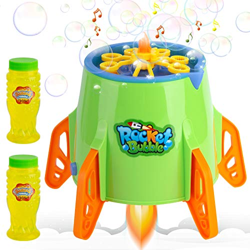 UCORN Bubble Machine Rocket Bubble Blower, 1200+ Bigger Bubbles Per Minute with Music & Light, Bubble Maker for Toddlers Kids Outdoor Indoor, Include 2 Bottles of Bubble Solution