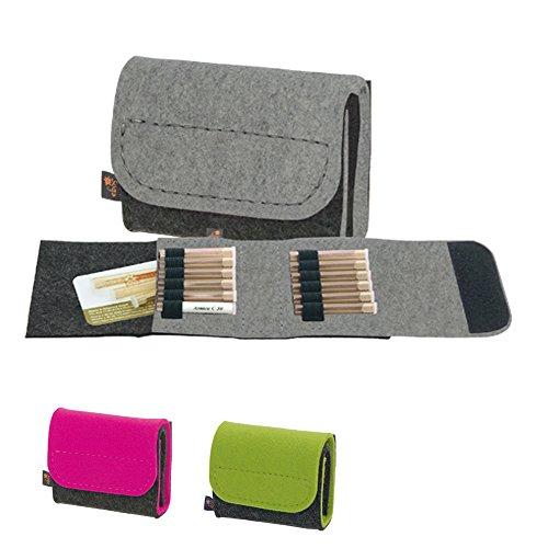 Premium Taschenapotheke von ebos | handgefertigte Reiseapotheke aus echtem Wollfilz | 12 Schlaufen für Globuli-Fläschchen, Globuli-Röhrchen | Globuli-Tasche, Globuli-Etui, Globuli-Mäppchen, Globuli-Täschchen als Set zur Aufbewahrung von homöopathischer Hausapotheke | grau