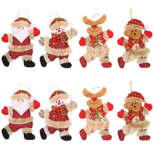 JPYH 8PCS Decorazioni per Albero di Natale, Renna Pupazzo di Neve Santa Ciondolo Albero di Natale in Peluche Appeso Ornamenti per Albero Natale Festa Decorazione