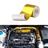 Sporacingrts 汎用 断熱テープ 長さ10M 幅50MM ノーテープ式 インテークパイプ 耐熱サーモバンテージ バイク・自動車用 350度まで 断熱テープ 火傷防止 耐熱テープ タービン保護などに 熱反射テープ ドレスアップに