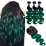 Green Bundles with Closure (18 20 22 with 16) 12A Brazilian Remy Hair Body Wave Human Hair Bundles with Closure 2 Tone Ombre Hair Black to Green