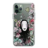 Spirited Away Kaonashi Phone Case No Face Man for iPhone X 7 8 6 6s plus 5 5s se 2 2020 10s 10r Xs 11 Pro Max Xr 5se Soot Sprites Anime Case Studio Fandom Gifts Clear Phone Silicone Cover