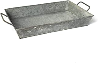 GRILA Rustic Metal WASH Tray -Deep Sided Tray with Handles Table Decor Planter Serving Coffee Home Dining centerpieces Office Desk Organizer Country Farmhouse Kitchen Decorative Functional Well Made.