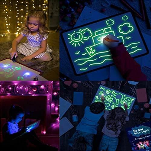 WJY Pizarra Luminosa Pizarras Mágicas Draw with Fun para Niños 3D Mágico Luces LED Educativo Infantil Dibujo Tablets De Escritura LCD Y Ewriters Tablero De Escritura Fluorescente (Size : A3)