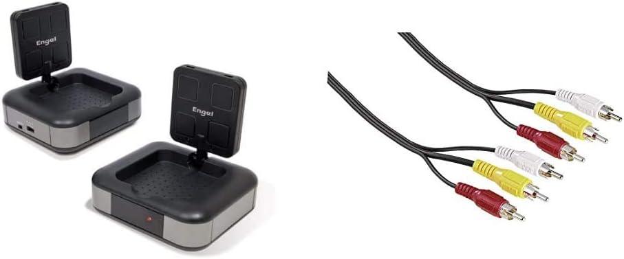 Engel Axil Boston MV7230 Emisor y Receptor de Equipo Video y Sonido (8 Canales seleccionables, 5.8 GHz), Negro + Hama 043134 Cable de Video 3RCA ...