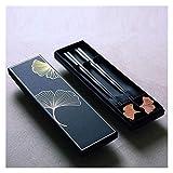 WANGQW Chopstick Reutilizable Set Lavavajillas-Caja fuert Palillos de la Hoja de Ginkgo Chinos, restaurantes de Gama Alta Creativa Palillos japoneses, Regalo de hogar, 2 Pares, 23 cm