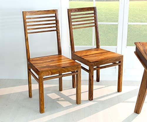 AISER Royal Massive Echt-Holz Palisander Esszimmer-Stühle -Hana- aus besonders schön gezeichnetem Sheesham-Holz in modernem zeitlosen Design | 2er Set