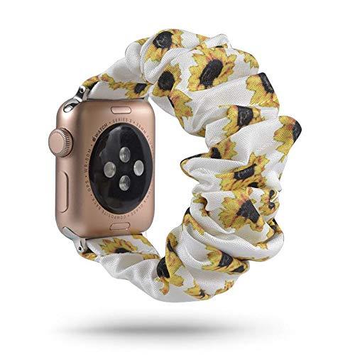 1 correa de reloj impresa compatible con muchos tipos de reloj de 40 mm con patrón impreso de tela de pulsera suave para el pelo, correa de reloj elástica linda, color 8