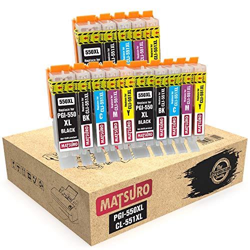 Matsuro Original | Compatible Cartuchos de Tinta Reemplazo para Canon PGI-550XL CLI-551XL 550 551 (3 Sets)