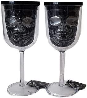 Day of the Dead Sugar Skull Plastic Wine Glasses in Black & Silver (Set of 2)