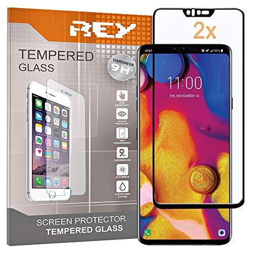 REY Pack 2X Panzerglas Schutzfolie für LG V40 THINQ, Schwarz, Displayschutzfolie 9H+, Polycarbonat, Härte, Anti-Kratzen, Anti-Öl, Anti-Bläschen, 3D / 4D / 5D