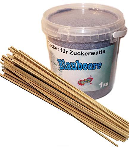1 Kg Aromatisierter Zucker für bunte Zuckerwatte/Popkorn (Blaubeere) + 50 Zuckerwattestäbe 30cm Vierkant