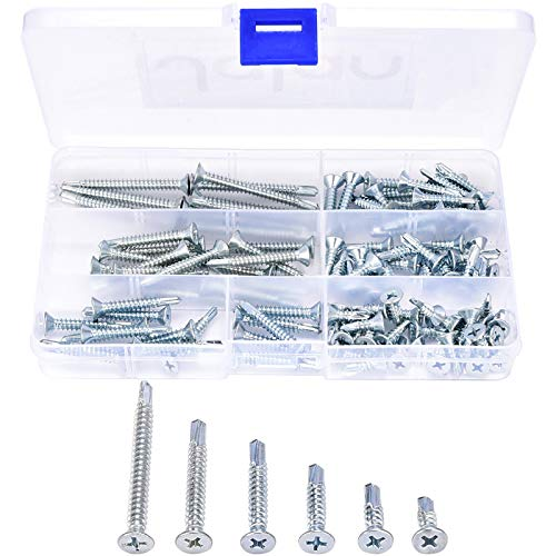 110 Pcs M4.8 Wafer Head Self Drilling Screw Sheet Metal Tek Screws Assortment Kit, Modified Truss Head Self Driller - 4.8mm x 16/19/25/32/38/50 mm - Zinc Plated Finish