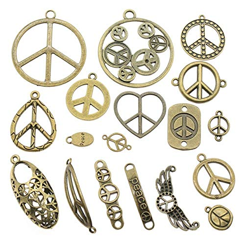 Chengxun 52 Pcs Wholesale Bulk Mixed Antique Peace Sign Pendant Charms for Jewelry Making DIY Crafting Vintage Accessories