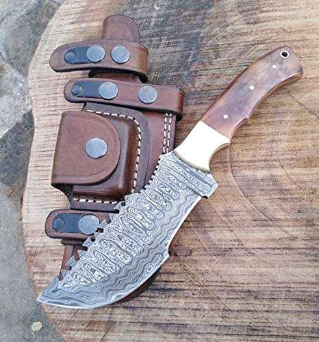 Ottoza Handmade Damascus Tracker Knife with Brown Bone Handle - Survival Knife - Camping Knife - Damascus Steel Knife - Damascus Hunting Knife with Sheath Horizontal Carry Fixed Blade Knife No:197
