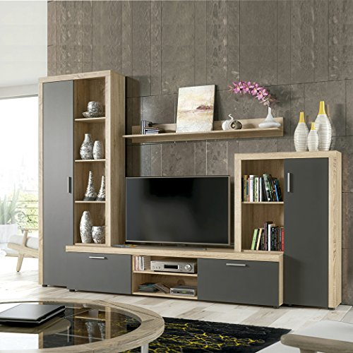 HomeSouth - Mueble de Comedor, Salon Modelo Nobel, Acabado Color Cambria y Grafito, Medidas: 263 x 202 x 40 cm Fondo.