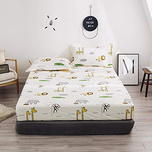 HPPSLT colchón Acolchado, antialérgico antiácaros, Sábana de algodón impresa-20_150 * 200cm