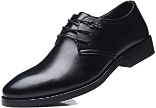 QinMei Zhou Business Oxford for Men Dress Shoes Pointed Toe Lace up Microfiber Leather Low Top Burnished Style Block Heel Metal Decor (Color : Black, Size : 5.5 UK)