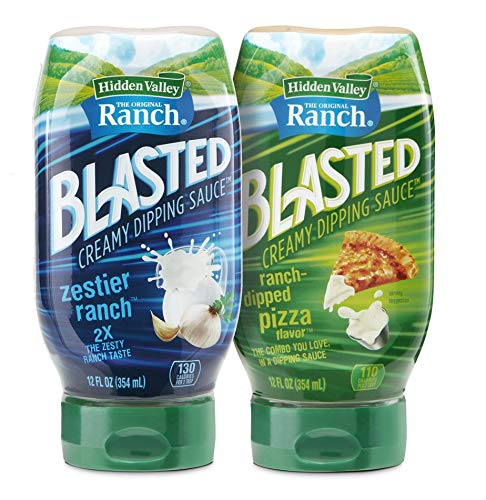 Hidden Valley Ranch Blasted Creamy Dipping Sauce, Zestier Ranch and Ranch-Dipped Pizza Flavors, Gluten Free - 12 Ounce Bottle Of Each Flavor