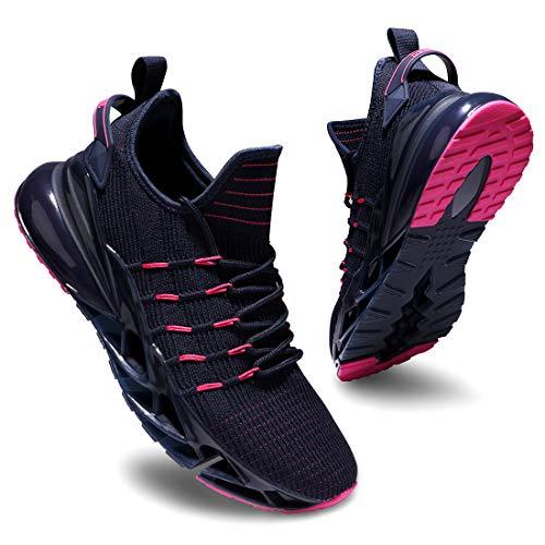 Deevike - Zapatillas deportivas para mujer, transpirables, cojín de aire, zapatillas deportivas, (1 azul rosa), 38 EU