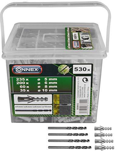 Connex Dübel-Sortiment 530-teilig - Polypropylen - Diverse Größen im Set (Ø 5 / 6 / 8 / 10 mm) - Für Befestigungsarbeiten in Vollstein & Beton - Inkl. Bohrer / Dübel-Set / Universaldübel / B30012