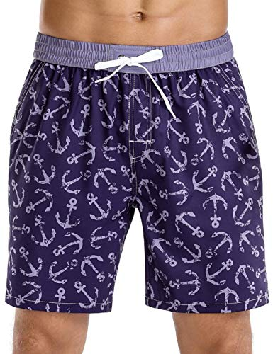 Unitop Men's Board Shorts Water Sports Quick Dry Anchor Printed Swim Trunks Purple 34