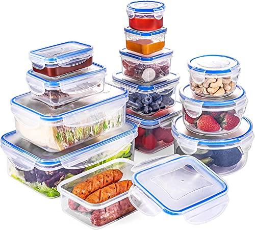 QCen Set di Contenitori per Alimenti 26 Pezzi (13 Contenitori +13 Coperchi), Senza BPA, Chiusura a Scatto a 4 Pieghe e Guarnizione in Silicone, Adatto per Congelatore, Microonde