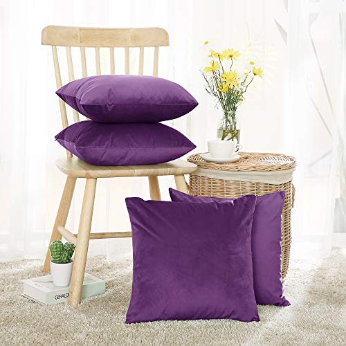 Deconovo Set of 4 Purple Cushion Covers Crushed Velvet Cushion Covers Square Pillowcases for Sofa with Invisible Zipper Purple 45x45cm