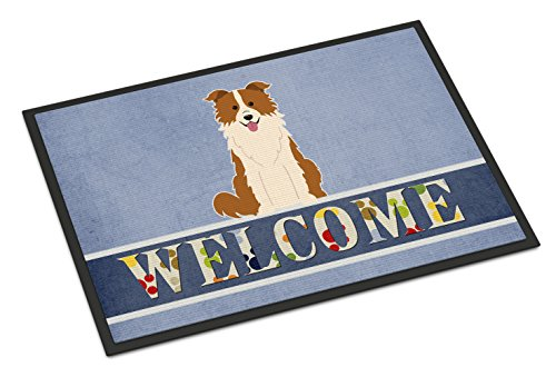 Caroline's Treasures BB5700MAT Border Collie Red White Welcome Indoor or Outdoor Mat 18x27, 18H X 27W, Multicolor