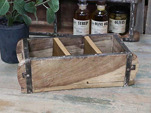 Chic Antieke baksteenvorm L30cm oude baksteenvorm met 3 vakken houten box kist houder schaal