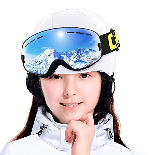 Copozz G3 Kinderskibril, skibril, snowboardbril, sneeuwscooter, skibril, snowboardbril, sneeuwscooter, voor jongens, meisjes, jongeren, kinderen van 3 tot 12 jaar, spiegelende zonnebril, zonder lijst, om boven de bril te plaatsen (meerkleurig)