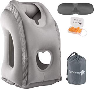 Sunany Inflatable Neck Pillow Used for Airplanes/Cars/Buses/Trains/Office Napping with Free Eye Mask/Earplugs (Gray), Small,
