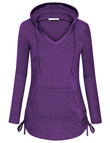 Women Hoodies, Messic Long Sleeve V Neck Lightweight Casual V Neck Pocket Drawstring Tunic (XX-Large, Violet)