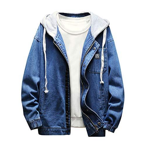 Geilisungren Herren Jeansjacke Knöpfe Jeans Jacket Sweatshirt Sweatjacke Männer Vintage Washed Destroyed Patchwork Denim Jacke Kapuzenjacke Herbst Mode Bomberjacke Mantel Outwear