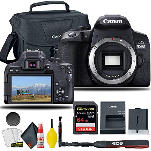 Canon EOS 850D / Rebel T8i DSLR Camera (Body Only), EOS Camera Bag + Sandisk Extreme Pro 64GB Card + Electronics Cleaning Set, and More (International Model)