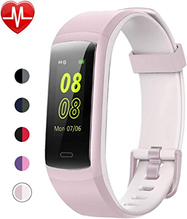 YAMAY Fitness Tracker, Fitness Watch Heart Rate Monitor Activity Tracker,Color Screen Dual-Color Bands IP68 Waterproof,with Step Counter Sleep Monitor 14 Sports Tracking for Women Men Kid